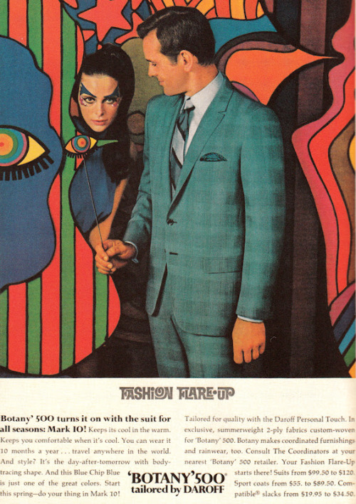 A Fashion Flare-Up - menswear by 'Botany' 500, 1969.