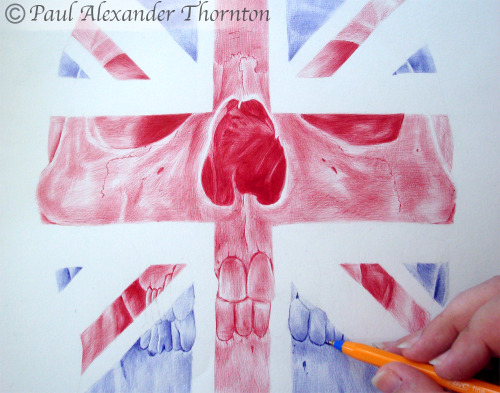 paulalexanderthornton:  Drawing being made with blue and red ballpoint pens by Paul Alexander Thornton.  Follow Paul Alexander Thornton on facebook -  http://www.facebook.com/PaulAlexThornton