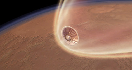 ikenbot:  Inflatable Heat Shields Could One Day Land Astronauts on Mars NASA successfully tested an inflatable heat shield prototype Monday (July 23), a technology that could one day be used for future space exploration missions, including landing humans on Mars, its builders say. The Inflatable Re-entry Vehicle Experiment 3, or IRVE-3, was conducted at NASA's Wallops Flight Facility on Wallops Island, Va. During the test flight, a small capsule was launched atop a suborbital rocket, and an inflatable heat shield was deployed in space before it plummeted back through Earth's atmosphere at hypersonic speeds to splash down in the Atlantic Ocean. The demonstration flight helps pave the way for new re-entry systems on future spacecraft, said Neil Cheatwood, IRVE-3 principal investigator at NASA's Langley Research Center in Hampton, Va.