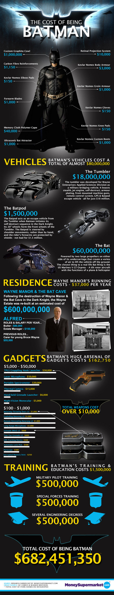 The cost of being Batman - so cool! Also, yay Alfred making bank that you probably don't ever use.