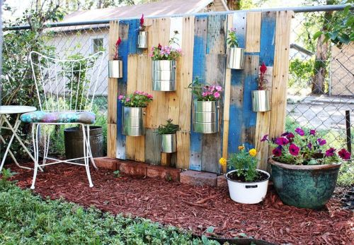 Pallet Vertical Garden via A Beautiful Mess