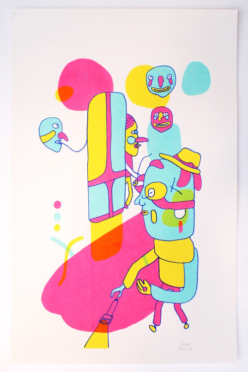 "Artist: Lance SimmonsTitle: People PuzzleMedium: 4-color Screen PrintSize: 19"" x 12.5""Edition: ?Printer: (Artist)Printed In: Philadelphia, PA"