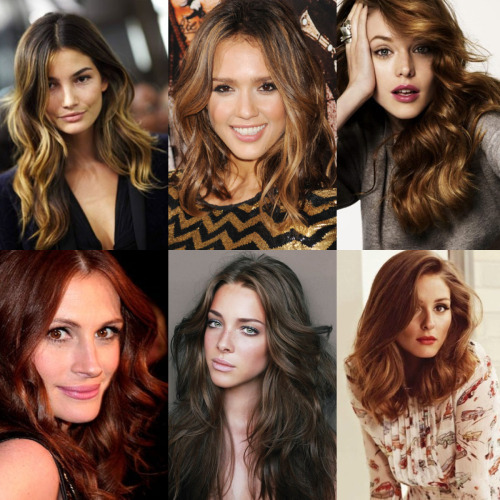 Here's a great link to the hair color trends of 2012. A few images I dig:  Ombre with a few lighter pieces in front Jessica Alba - Brunette with honey hues Light auburn with golden highlights Julia Roberts - Rich auburn  Cool tone brunette Reddish hues with slight blonde highlights   Live in Los Angeles? Like us on facebook and get 10% off hair color services if you book by Friday!