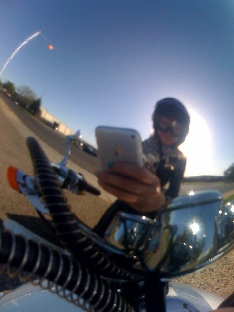 the reflection in my scooters headlight, I miss it.