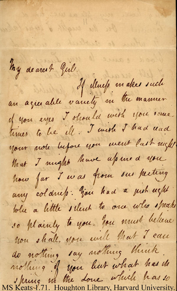 poetsorg:  Keats to Fanny. Come in.