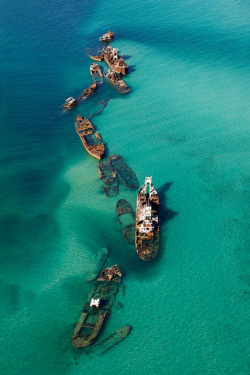 visitheworld:  Aerial of Tangalooma Wrecks in Moreton Bay, Queensland, Australia (by Visit Brisbane).