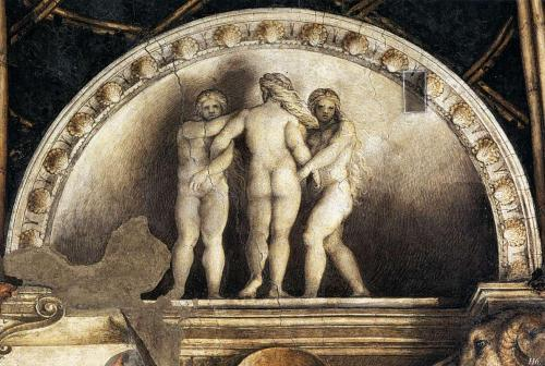 hadrian6:  the three graces. 1518-19. camera di San Paolo Parma Correggio. http;//hadrian6.tumblr.com