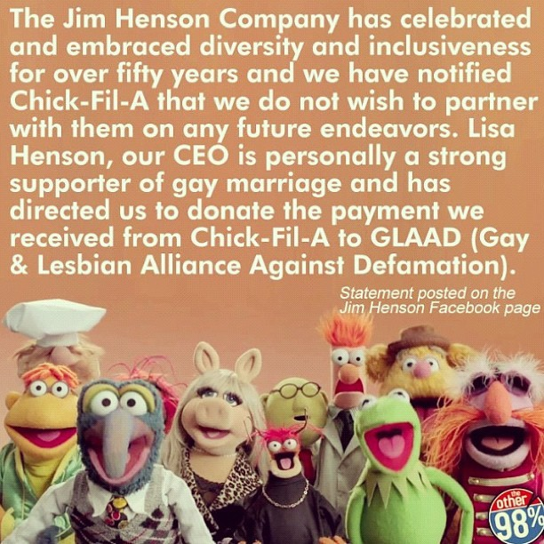 chrisrex:  queenofjacks:  the muppets ended their partnership with chik-fil-a over their blatant anti-gay remarks, and chik-fil-a is now lying about it. spread the word, yo. also, keep supporting the muppets, those guys are amazing.  love them damn muppets
