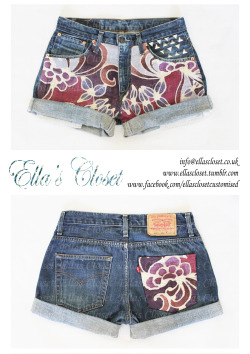 For SaleSize 10-12levis shorts with batik hemp design on front and back pocket in purples and pinks. the rolled up legs can be cut off if requested at no extra cost! Please contact if interested in purchasing at info@ellascloset.co.uk