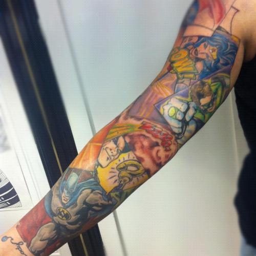 fuckyeahtattoos:  one side of my DC Comics sleeve  tattooed by - Matt Drury: Art and Soul Tattoo, Plymouth UK http://alwaysyouneverme.tumblr.com/