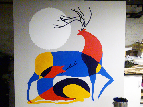 Painting commission for Deer + Almond restaurant. Acrylic on birch, 5'x5', 2012.