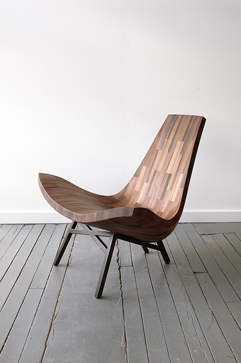 Water Tower, a low lying lounge chair made from reclaimed timbers of a New York City water tower, by Bellboy. Photo by Joshua Dalsimer.