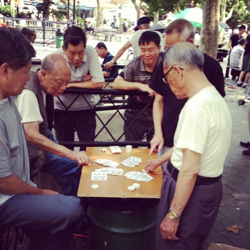Columbus park NYC the place to be if you like to gamble. Old timers start at 6am every day.  (Taken with Instagram)