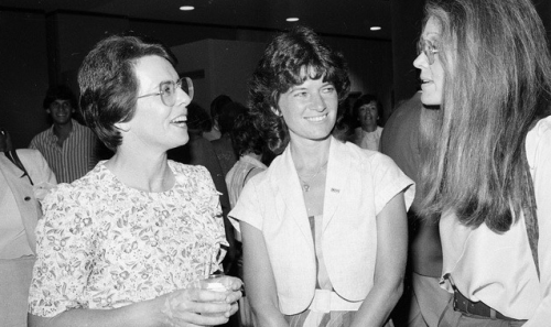 "theweekmagazine:  During a 1983 Girls Club of America reception in her honor, Sally Ride (center) chats with tennis star Billie Jean King (left) and the Ms. Magazine founder Gloria Steinem. The day after Ride's historic launch, Steinem said: ""Millions of little girls are going to sit by their television sets and see they can be astronauts, heroes, explorers, and scientists."" A photo tribute to America's first female astronaut"