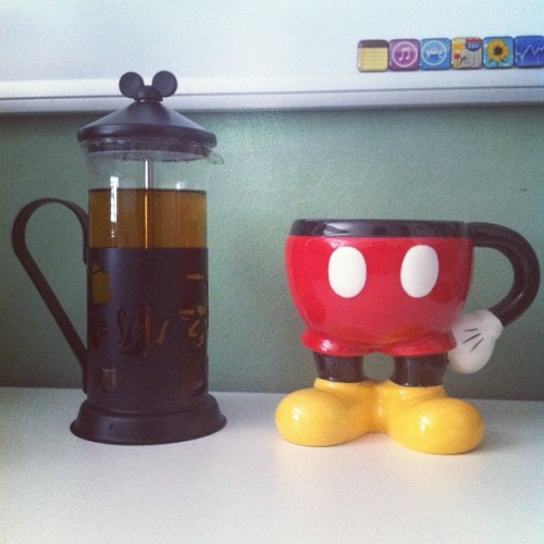 First time using my Mickey mug & kettle that I got at Disneyland! 😄 (Taken with Instagram)