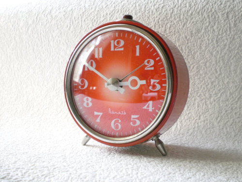 This is an old Soviet alarm clock that I stared at online forever and ever, but never bought. Now it is too late and I'll never live it down. There are similar things out there, but they're not the same.