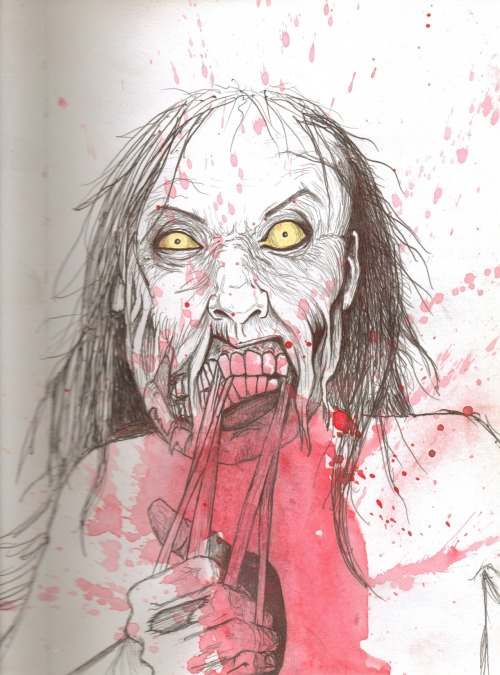 'zombie grrl' pens, hi-liters, & watercolour