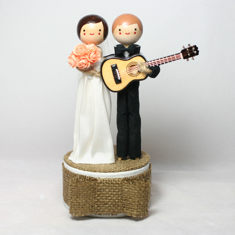 Wedding No. 622 - Custom Wedding Cake Topper with guitar