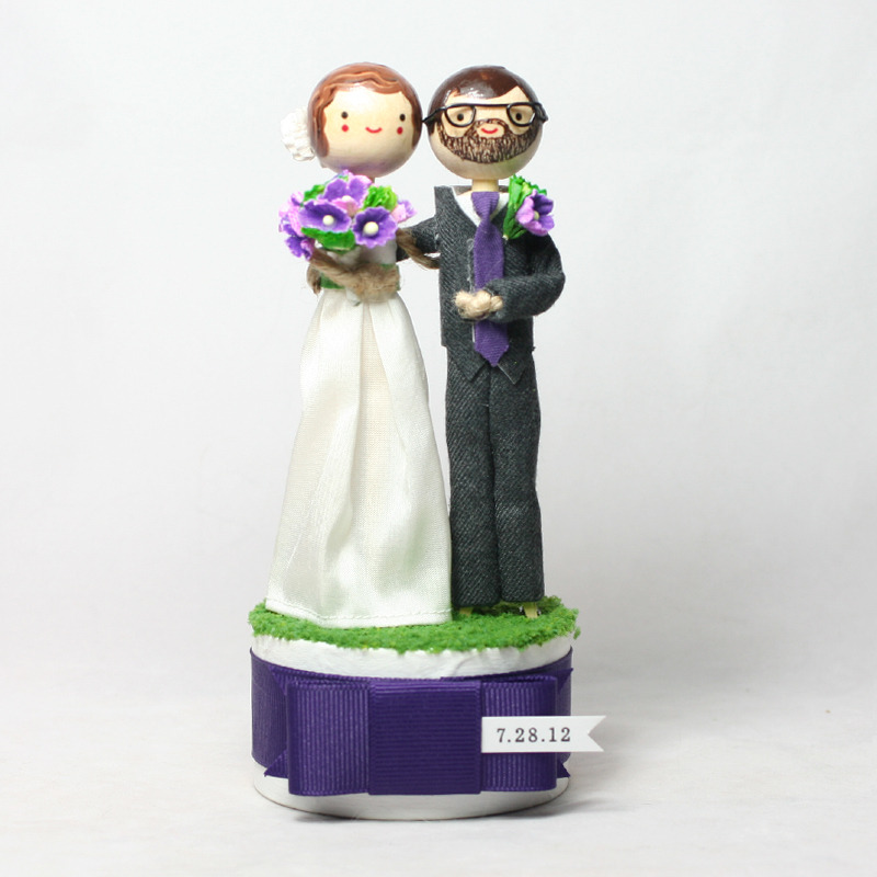 Wedding No. 623 - Custom Wedding Cake Topper with date flag
