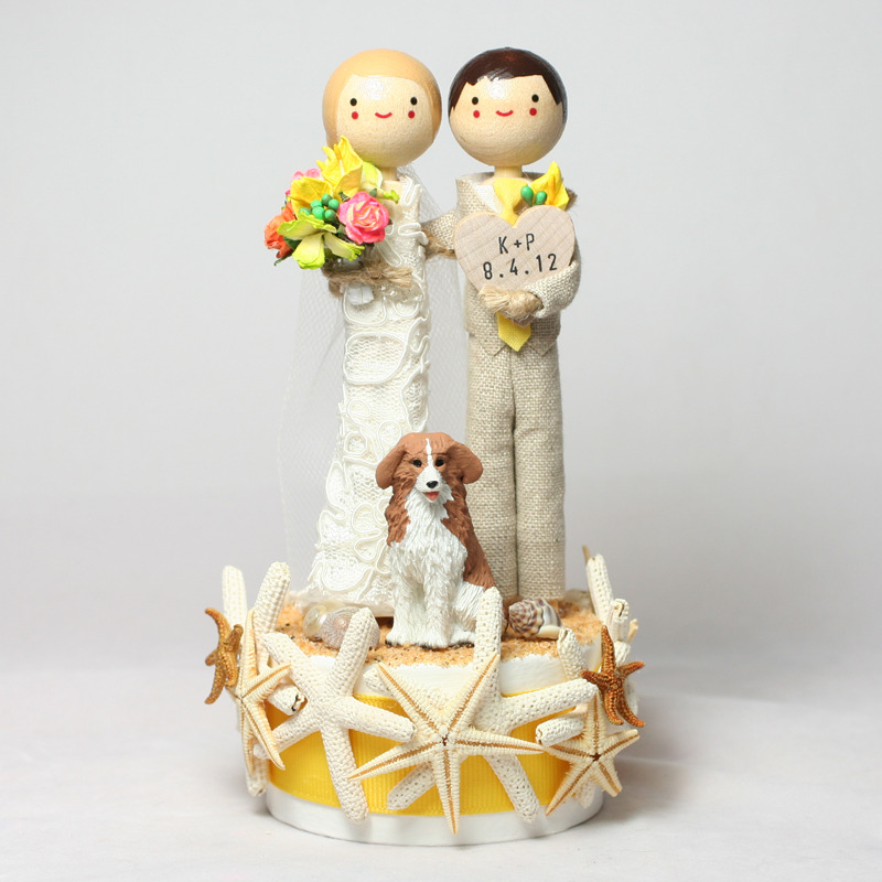 Wedding No. 624 - Custom Theme Wedding Cake Topper with sand base, starfish and pet