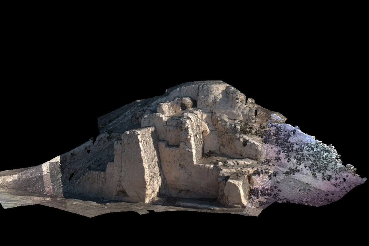'Photo-textured 3D laser scan image of Gäwürgala town walls' - source Obsessed with the ancient city of Merv