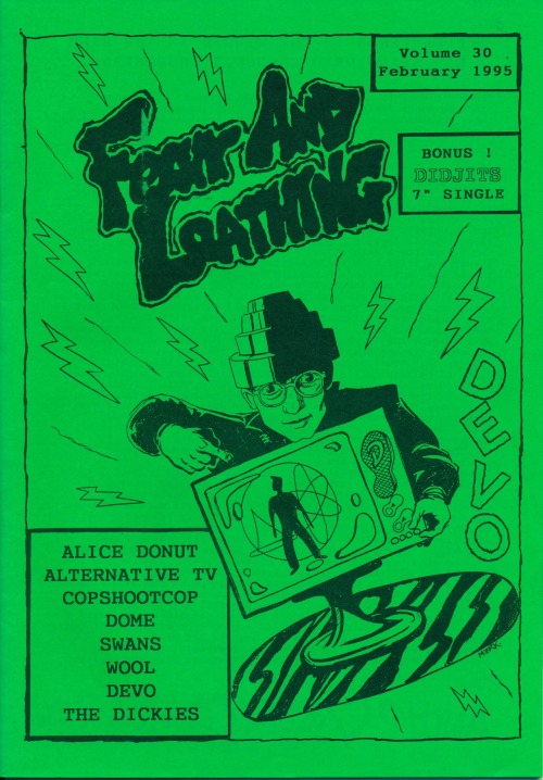Devo on the cover of Fear And Loathing,Vol. 30, Feb. 1995. Published by Andy P., London, UK. The latest scan from a pile of 'zines that Kaitlin Kostus of Koshka 'Zine is helping me archive in the Public Collectors basement today. Check out her Koshka blog and publications. I'm still working on a total inventory of all of this old printed crap but in the meantime, you can see more 'zines from my collection here.