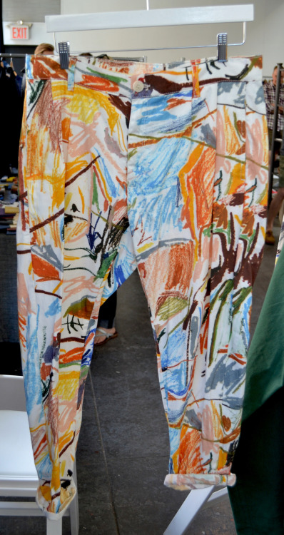 Also spotted at @MANshows today, Etudes spring/summer 2013 pants created using the exclusive oil stick print of artist Robin Cameron. WGSN product shot, New York.