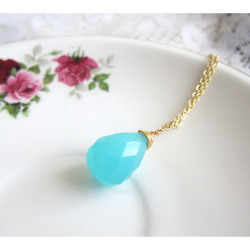Juicy Aqua Gem Blue Glass Necklace - JEWELSALEM