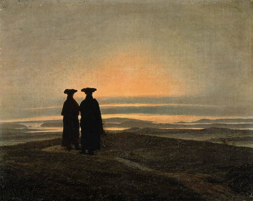 composition-improvisation:  Caspar David Friedrich, Evening Landscape with Two Men, c. 1830-5