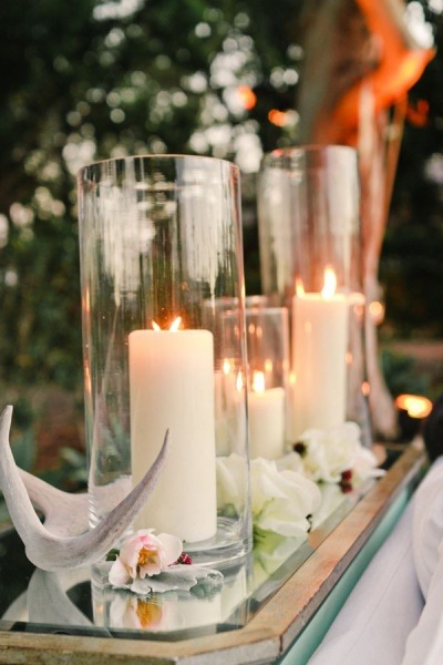 Candles + Antler Decor // Steve Steinhardt Photography. Dream wedding decor.