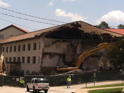 here's my freshman dorm getting torn down. rest in peace, trimble. you will not really be missed. :(