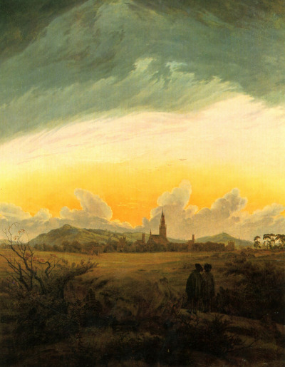 composition-improvisation:  Caspar David Friedrich, Neubrandenburg, c. 1816-7  German Romanticism at its finest once more. The figures turn away from the viewer, looking toward nature for the answer, as nature is eternal.