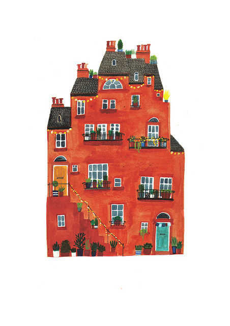 happiness-etc:  Red house by Lizzy Stewart on Flickr.