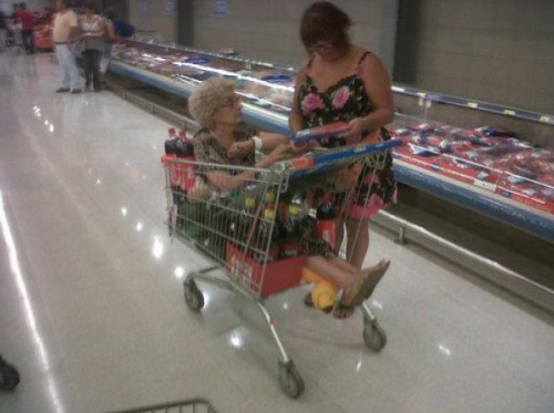Old Lady Sitting in Shopping Cart I need 64 bottles of coke and one old lady. How much will that cost?