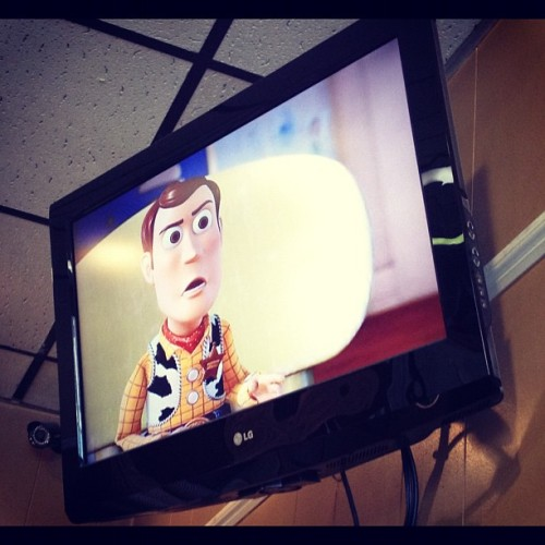Toy Story 3, to make work go by faster… ✌#toystory #favorite #childhood #movies #love #goodlife #workflow #workhard #playhard #dinner (Taken with Instagram)