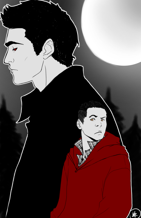 midnightzone:  Little Red Riding Stiles and the Big Bad Derek. Idek. Print for Otakon, cause it totally was a smart idea to do another print two days before Otakon  Turned out GORGEOUS!! <3