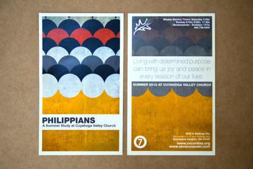 "Great design on these postcards advertising Summer services at Cuyahoga Valley Church.  Product: Postcards Stock: 12 pt. Gloss Card Stock Size: 3x5"" Inks: Full Color"