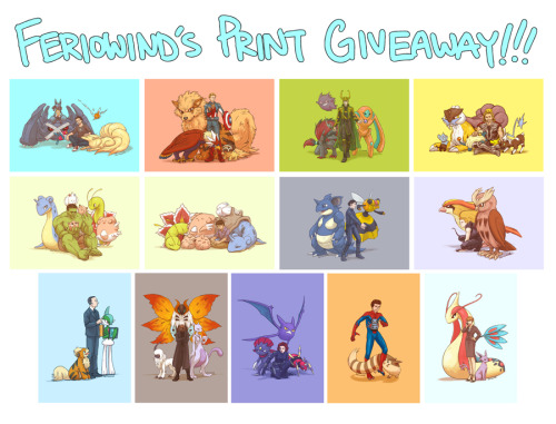 "feriowind:  Okay, here's a free print giveaway in celebration of reaching 2,000+ followers!When you reblog this post, you'll get the chance to win: The entire Pokevengers 13-print set. A choice of any two work-safe drawings from me that I will have made into 5x7"" prints for you. You can either look through my art tag to see what else I've drawn or my deviantArt. $5 worth of anything from this sales post. And one free pencil sketch of any character from the Avengers or a Pokemon, or an Avenger with a Pokemon! You can reblog up to TWO TIMES! Any more than that and you will be disqualified from winning.Also it doesn't matter where you are in the world, I will mail it to you! The winner will be chosen on July 31st! Now go go go!!"