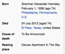 Screenshot of Wikipedia's all-too-brief tribute to Sherman Hemsley. RIP and thank you bringing so much laughter into our homes.