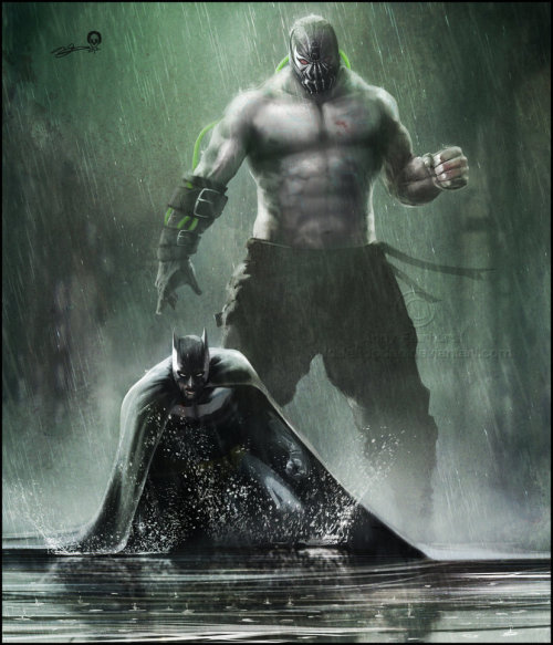 herochan:  Batman . Bane Illustration by Andy Fairhurst