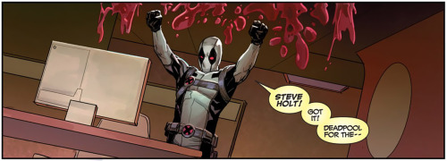 "thebluthcompany:  Deadpool yelling ""Steve Holt!"" in Uncanny X-Force #26    He couldn't be more fantastic, really"