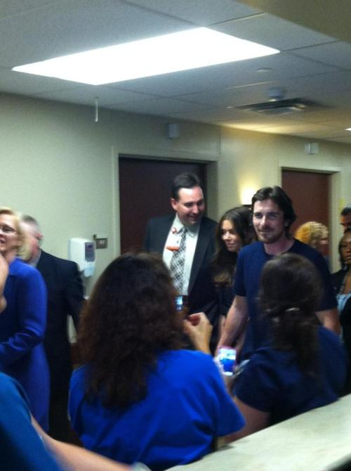 Christian Bale visits shooting victims at Medical Center of Aurora (Photo courtesy of Lisa Biegel)