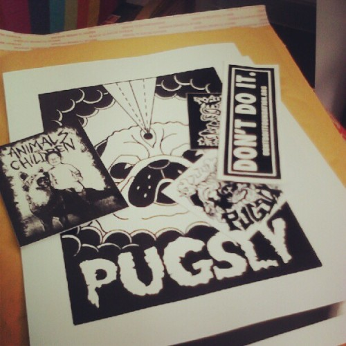 ericpsolis:  Mailing off the first ordered print! (Taken with Instagram)  Wanta buy a print? Last few just got posted up on the Pugsly site. $9 total for a print + stickers? What a steal! http://pugslystickerco.bigcartel.com/product/all-seeing-pug-print