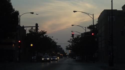 cars, traffic lights, sunsets. Chicago, IL.