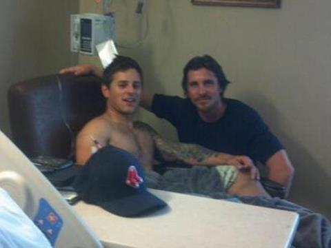 """Christian Bale meets with Aurora theater shooting victim Carey Rottman. Warner Brothers says its on his own time and not on the company's behalf. This guy is a class act.""You truly are a hero Christian Bale."