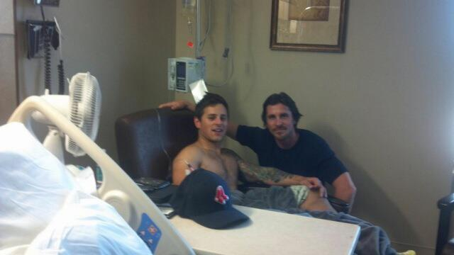 Today Dark Knight Rises star Christian Bale visited victims of the theater shooting in Colorado http://www.nationalconfidential.com/20120724/photo-christian-bale-visits-victim-of-colorado-shooting/