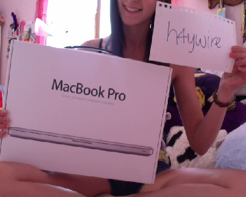 Yay :-)  h4ywire:  ********MACBOOK PRO GIVEAWAY!******** okay guys, so my dad came home from work with a macbook pro (he won it in a basket raffle). everyone in my family that wants one has one, so he said i could give it away on tumblr since he knows how much i love you guys! lol c: all you have to do to win is be following me (i will check!) and reblog this post (no likes!). you can reblog it more than once, but it won't increase your chances. i will pick the winner one week from today, July 31st 2012. all of the URLs will be put into a random generator and one winner will be picked! i will ship the computer anywhere, so even if you don't live in the USA you could win! if you have any questions, ask me here. i will only answer non-anon questions about the computer. good luck!