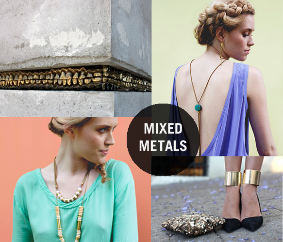 Pins of The Week // Mixed Metals Clockwise from top right: 1. Turquoise Tassel Necklace 2. Gold Cuff Heels 3. Striped Coral Necklace 4. Wild & Crazee World
