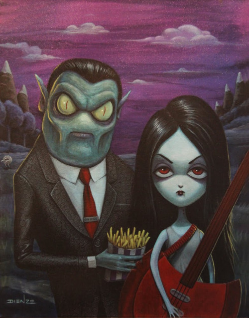 'The Fries that bind' by Dienzo. Hunson Abadeer & Marceline from Adventure Time. Everything about this is RAD, Hunson is even holding the infamous 'Fries' and Marceline has her Axe Bass!  Wow.