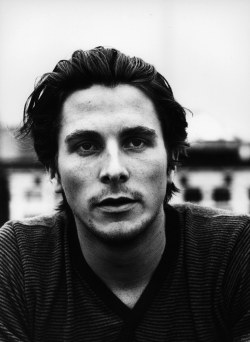 Christian Bale black-and-white portrait.